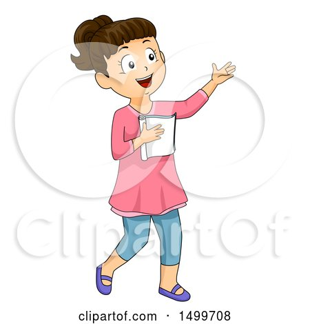 Clipart of a School Girl Studying Her Script for Drama Class - Royalty Free Vector Illustration by BNP Design Studio