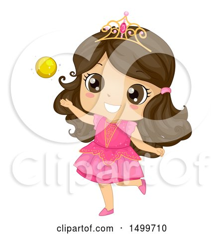Clipart of a Cute Brunette Priness Girl Playing with a Gold Ball - Royalty Free Vector Illustration by BNP Design Studio