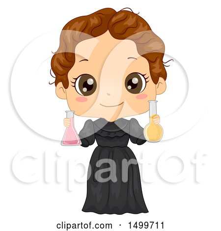 Clipart of a Cute Brunette Girl in a Marie Curie Costume - Royalty Free Vector Illustration by BNP Design Studio