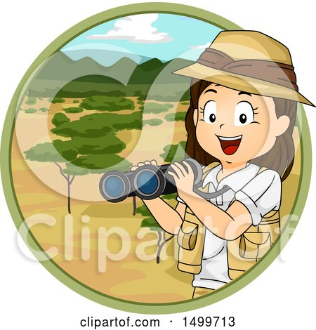 Clipart of a Girl Explorer Holding Binoculars in a Savanna Circle - Royalty Free Vector Illustration by BNP Design Studio