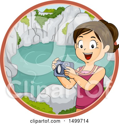 Clipart of a Girl Taking Pictures of a Lagoon - Royalty Free Vector Illustration by BNP Design Studio
