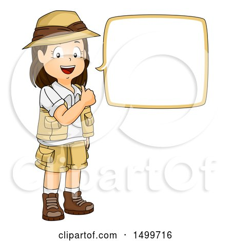 Clipart of a Girl Explorer Giving a Thumb up and Talking - Royalty Free Vector Illustration by BNP Design Studio