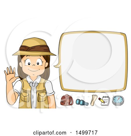 Clipart of a Girl Explorer Waving and Talking - Royalty Free Vector Illustration by BNP Design Studio