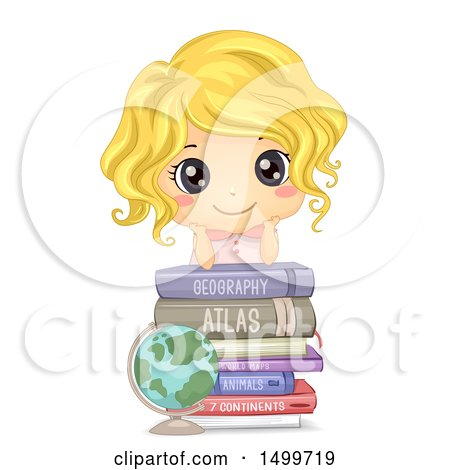 Clipart of a Cute White Girl on Top of Geography Books - Royalty Free Vector Illustration by BNP Design Studio