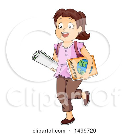 Clipart of a Brunette White School Girl Carrying a Map and Geography Book - Royalty Free Vector Illustration by BNP Design Studio