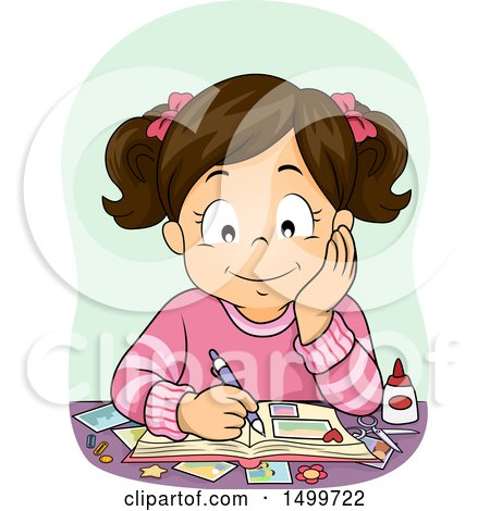 Clipart of a Brunette Girl Working on a Scrapbook - Royalty Free Vector Illustration by BNP Design Studio