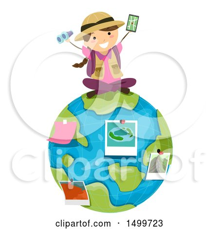 Clipart of a Girl Explorer Sitting on Earth with Pictures and Binoculars - Royalty Free Vector Illustration by BNP Design Studio