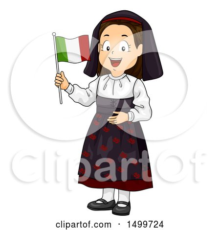 Clipart of an Italian Girl Holding a Flag - Royalty Free Vector Illustration by BNP Design Studio