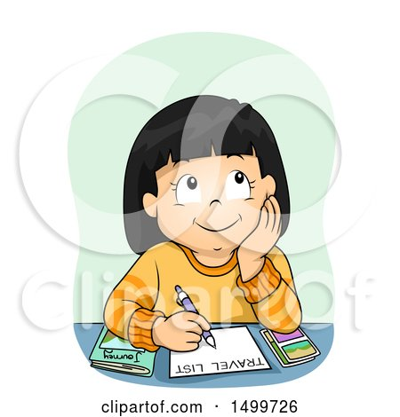 Clipart of a Thoughtful Girl Writing a Travel List - Royalty Free Vector Illustration by BNP Design Studio