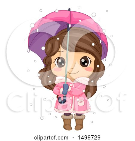 Clipart of a Cute Brunette Winter Girl Holding an Umbrella in the Snow - Royalty Free Vector Illustration by BNP Design Studio