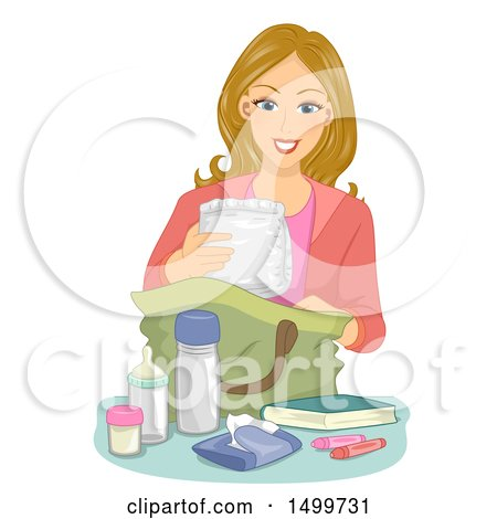 Clipart of a Mother Packing a Diaper Bag - Royalty Free Vector Illustration by BNP Design Studio