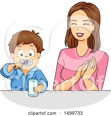 Clipart of a Mother Praising Her Son As He Brushes His Teeth - Royalty Free Vector Illustration by BNP Design Studio