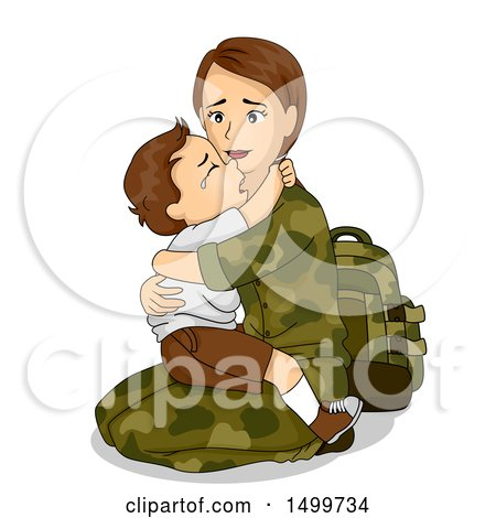 Clipart of a Military Mother Holding Her Crying Son Before Leaving for War - Royalty Free Vector Illustration by BNP Design Studio