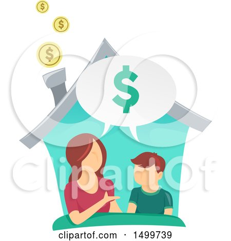Clipart of a Mother Teaching Her Son About Finances in Their Home - Royalty Free Vector Illustration by BNP Design Studio