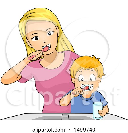 Clipart of a Mother Showing Her Son How to Brush His Teeth - Royalty Free Vector Illustration by BNP Design Studio