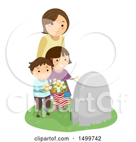 Clipart of a Widowed Wife and Mother with Her Children at a Grave - Royalty Free Vector Illustration by BNP Design Studio