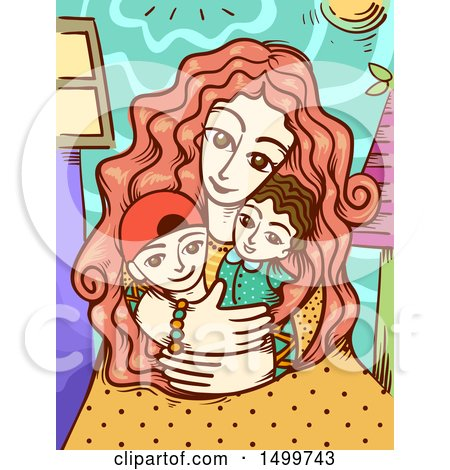 Clipart of a Loving Mother Embracing Her Children - Royalty Free Vector Illustration by BNP Design Studio