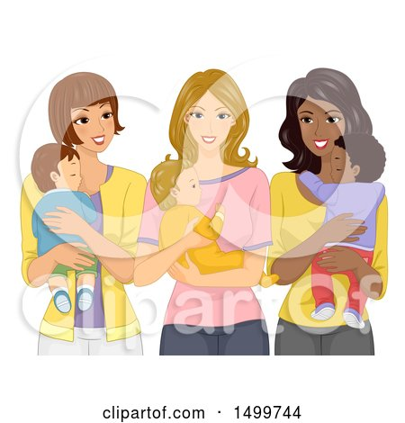 Clipart of a Group of Mothers Carrying Their Babies - Royalty Free Vector Illustration by BNP Design Studio