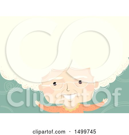 Clipart of a Senior Lady with Big White Hair Forming Text Space - Royalty Free Vector Illustration by BNP Design Studio