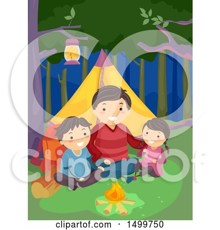 Clipart of a Father and Children Camping and Sitting by a Fire - Royalty Free Vector Illustration by BNP Design Studio
