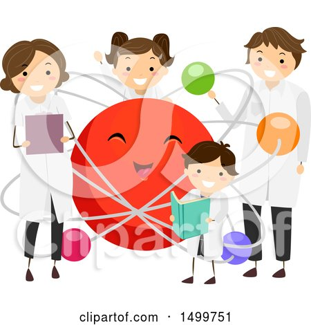 Clipart of a Science Family Around an Atom Mascot - Royalty Free Vector Illustration by BNP Design Studio