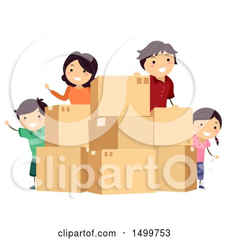 Clipart of a Happy Family with Moving Boxes - Royalty Free Vector Illustration by BNP Design Studio