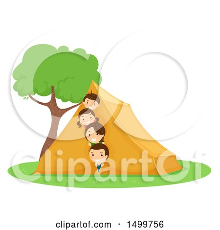 Clipart of a Happy Family Peeking from a Tent - Royalty Free Vector Illustration by BNP Design Studio