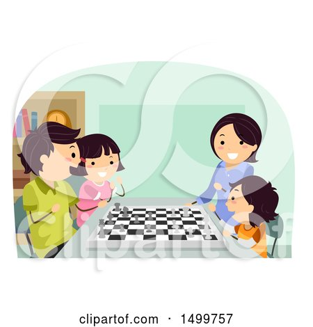 Clipart of a Happy Family Playing a Game of Chess - Royalty Free Vector Illustration by BNP Design Studio