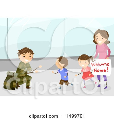 Clipart of a Happy Family Welcoming Their Military Dad Home at an Airport - Royalty Free Vector Illustration by BNP Design Studio