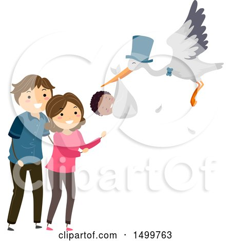 Clipart of a Stork Delivering an Adopted Baby to Happy Parents - Royalty Free Vector Illustration by BNP Design Studio