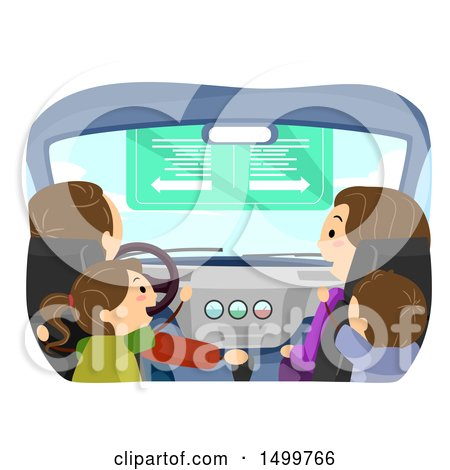 Clipart of a Family in Their Car - Royalty Free Vector Illustration by BNP Design Studio