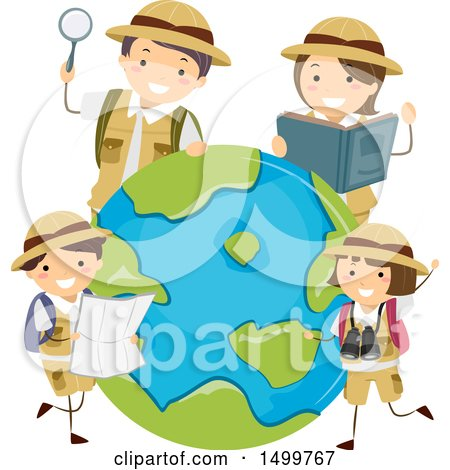 Clipart of a Family of Explorers Around Earth - Royalty Free Vector Illustration by BNP Design Studio