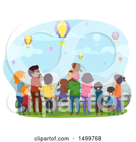 Clipart of a Rear View of Families Watching Hot Air Balloons - Royalty Free Vector Illustration by BNP Design Studio
