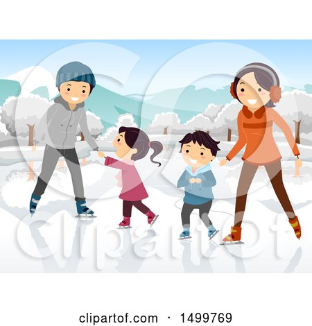 Clipart of a Happy Family Ice Skating - Royalty Free Vector Illustration by BNP Design Studio