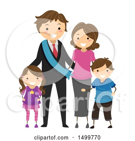 Clipart of a Happy Political Family - Royalty Free Vector Illustration by BNP Design Studio