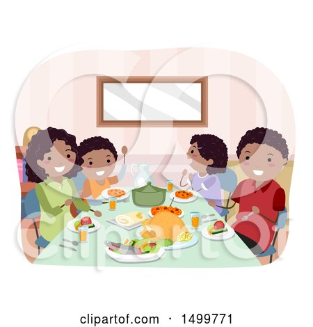 Clipart of a Happy Family Eating Dinner - Royalty Free Vector Illustration by BNP Design Studio