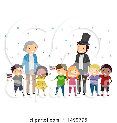 Clipart of a Group of Kids with Abraham Lincoln and George Washington - Royalty Free Vector Illustration by BNP Design Studio