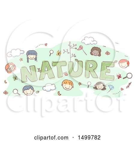 Clipart of a Sketched Word Nature with Happy Children Faces - Royalty Free Vector Illustration by BNP Design Studio