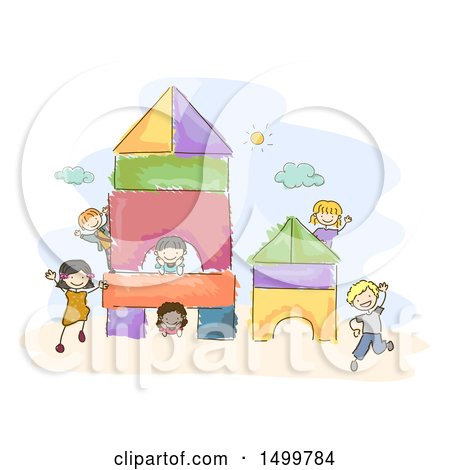 Clipart of a Sketched Group of Kids Playing on a Block Shapes Playground - Royalty Free Vector Illustration by BNP Design Studio