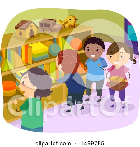 Clipart of a Group of Kids Gathering Shape Blocks from Cubbies - Royalty Free Vector Illustration by BNP Design Studio