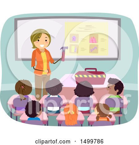 Clipart of a Female Teacher Showing Tools to Her Students - Royalty Free Vector Illustration by BNP Design Studio