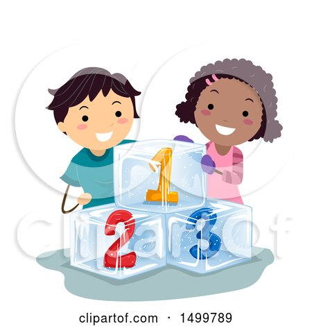 Clipart of a Boy and Girl with Frozen Numbers - Royalty Free Vector Illustration by BNP Design Studio