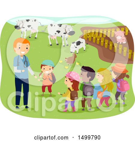 Clipart of a Veterinarian and Children at a Livestock Farm - Royalty Free Vector Illustration by BNP Design Studio