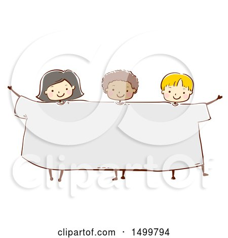 Clipart of a Sketched Group of Kids Wearing a Giant Tee Shirt - Royalty Free Vector Illustration by BNP Design Studio