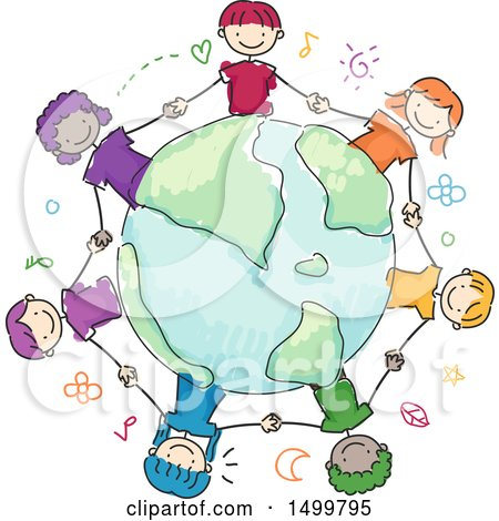 Clipart of a Sketched Group of Children Holding Hands Around a Globe - Royalty Free Vector Illustration by BNP Design Studio