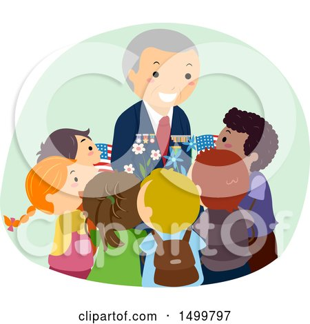 Clipart of a Senior Military Veteran Surrounded by Children - Royalty Free Vector Illustration by BNP Design Studio
