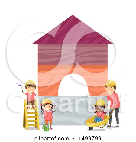 Clipart of a Group of Children and Construction Worker Painting Blocks - Royalty Free Vector Illustration by BNP Design Studio