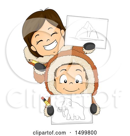 Clipart of a Boy and Girl Eskimo Holding Drawings and Pencils - Royalty Free Vector Illustration by BNP Design Studio