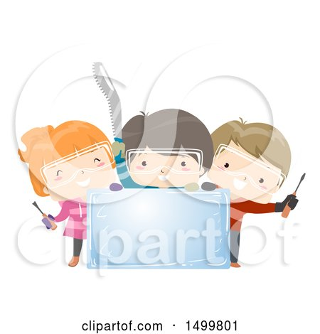 Clipart of a Group of Children Holding Carving Tools Around an Ice Block - Royalty Free Vector Illustration by BNP Design Studio