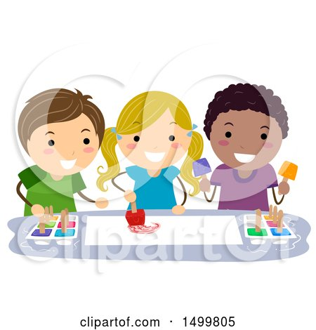 Clipart of a Group of Children Ice Cube Painting - Royalty Free Vector Illustration by BNP Design Studio